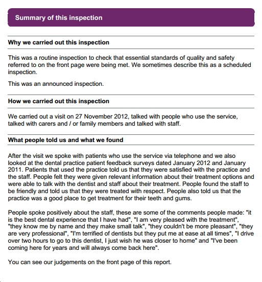 CQC independent Quality report Nov 2012