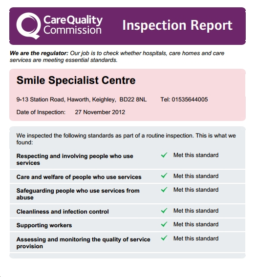 CQC report shows Smile Specialist Centre passess all Quality criteria Nov 2012