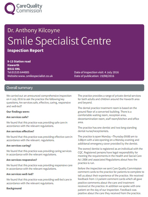 CQC Summary report Smile Specialist Centre 2016