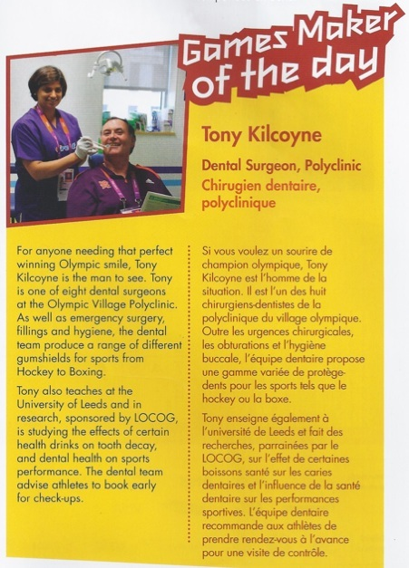 Dr Tony Kilcoyne Dentist to the Olympic Atheletes London 2012